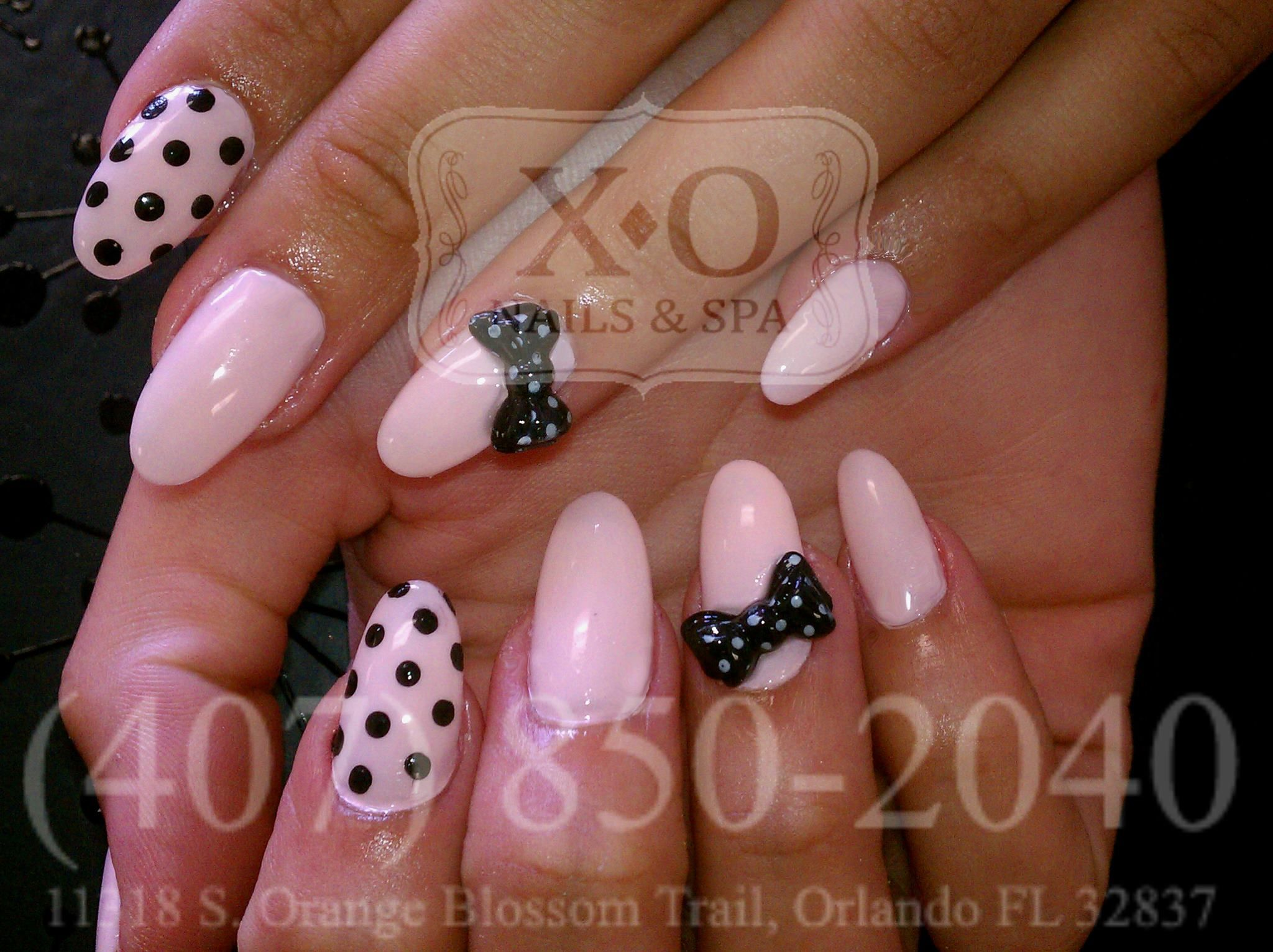 Pretty In Pink Nail Design Polka Dots Nail Art 3d Bows On Oval