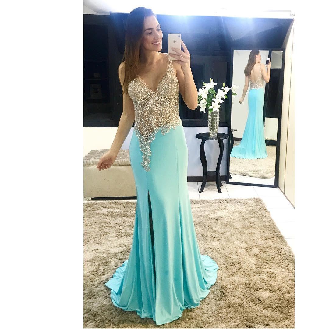 Sparkle illusion v neck mermaid chiffon prom dresses prom