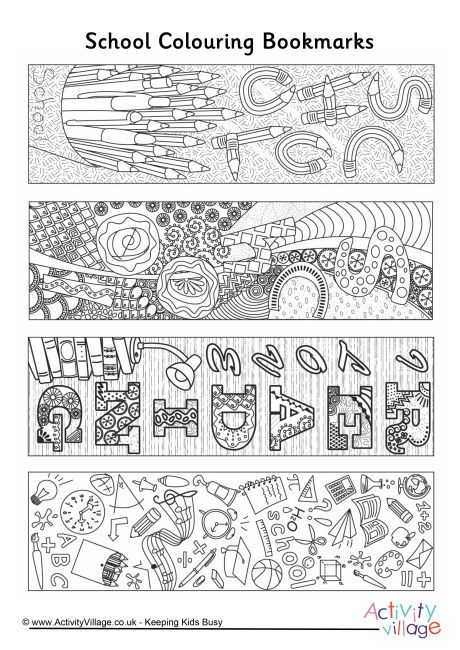 School doodle colouring bookmarks
