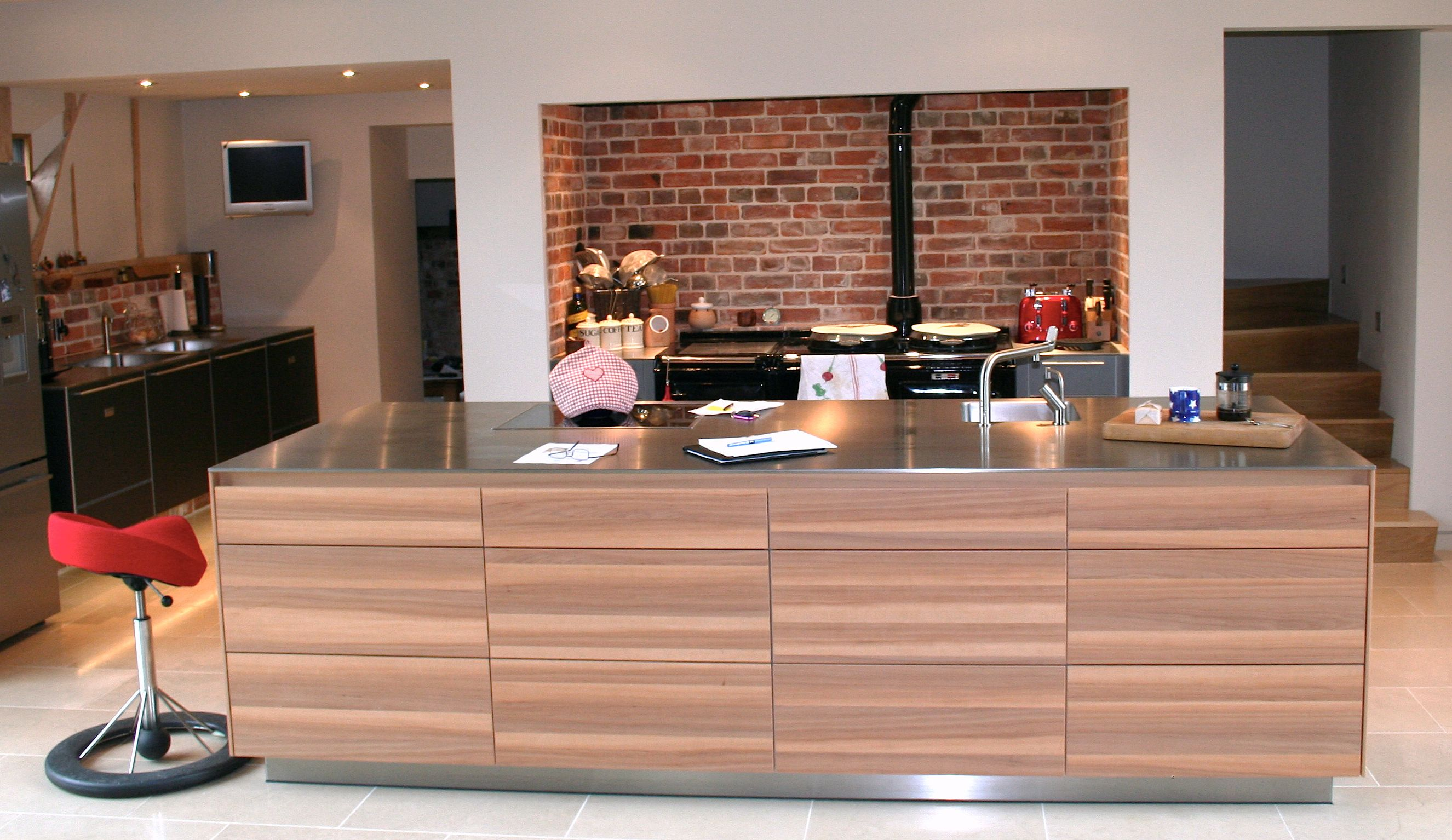 Rustic Style Bulthaup Kitchen With Veneered Island And Black Aga