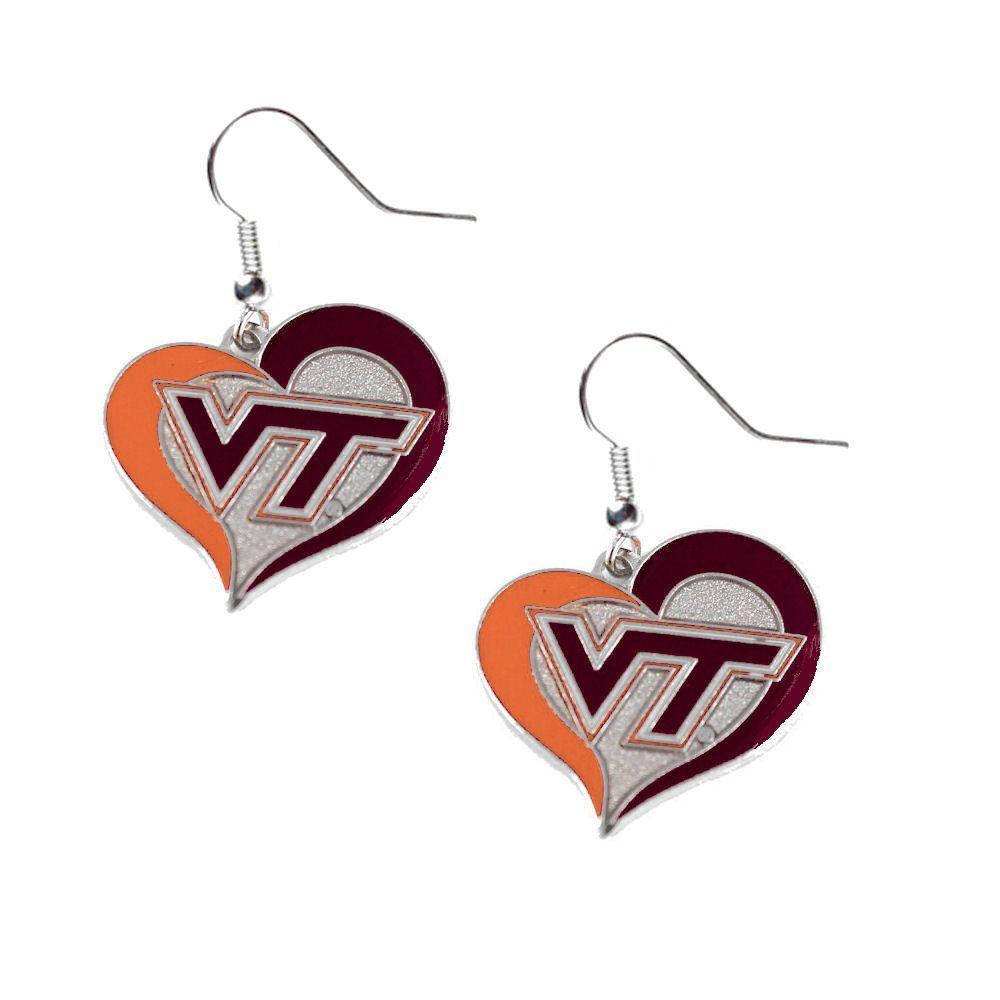 Virginia Tech Hokies Women's Swirl Heart Earrings Heart