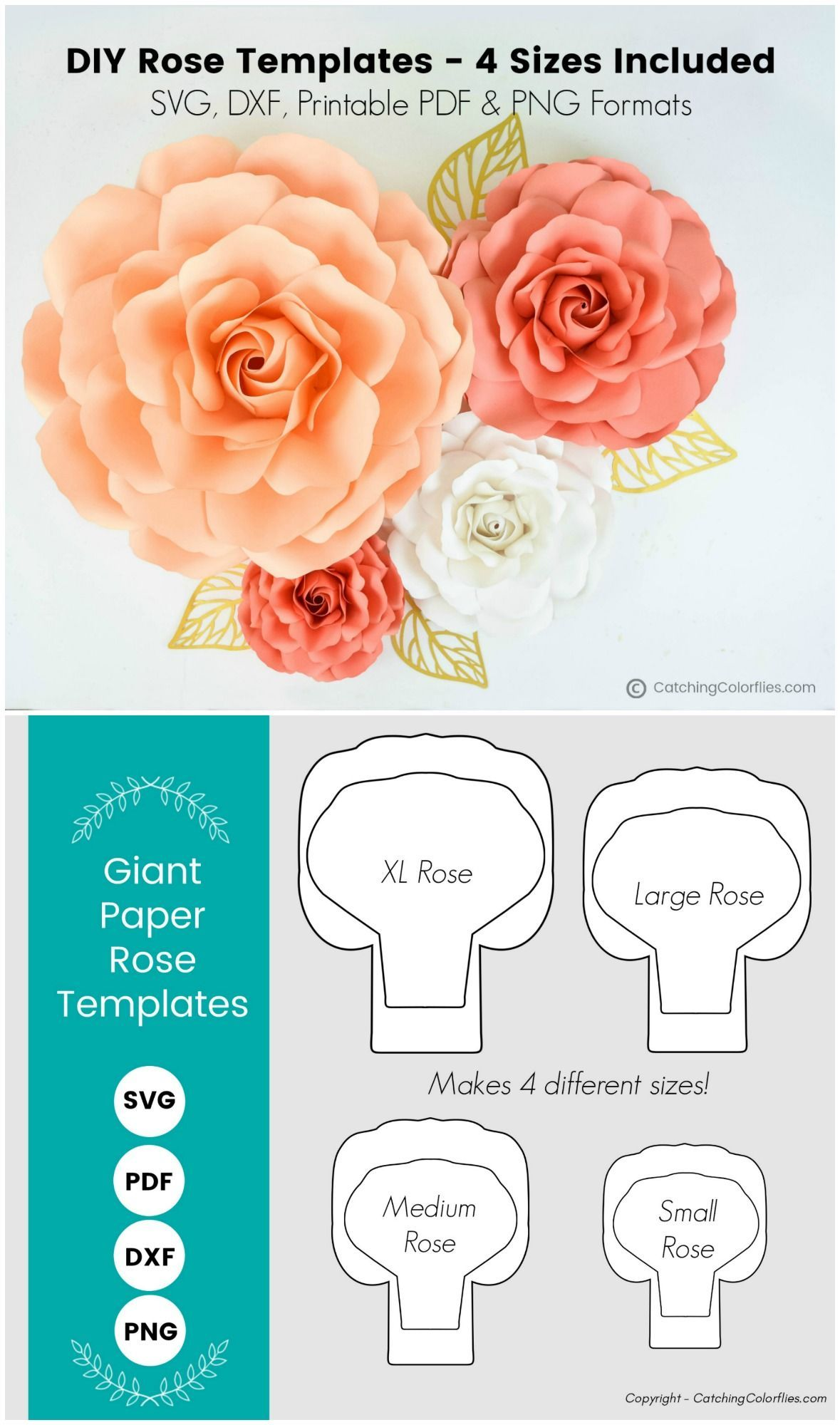 Set of 4 Paper Rose Templates, Paper Rose Flower SVG Cut Files and PDF Printable Pattern, Extra Large, Large, Medium and Small