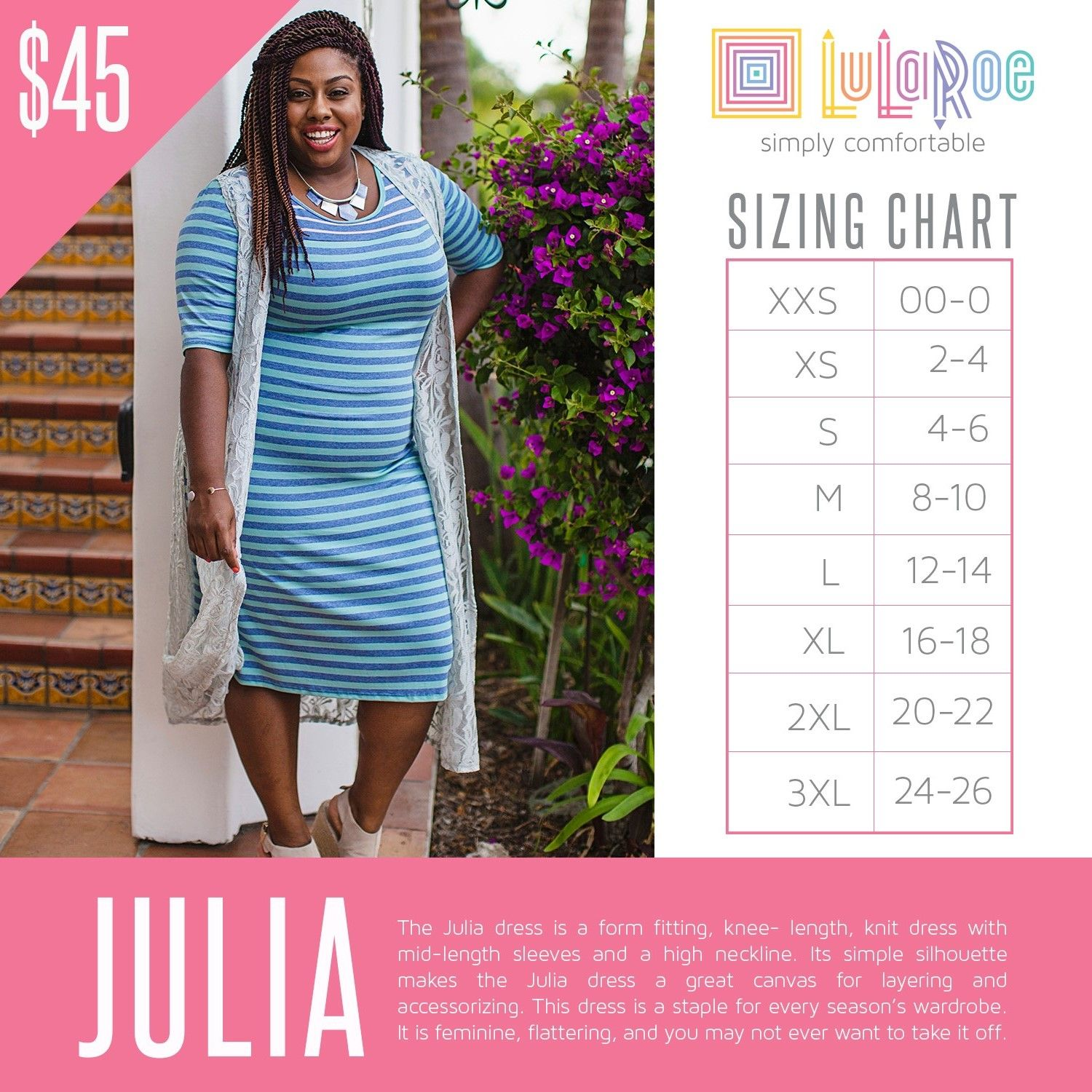 Lularoe julia sizing chart with price also size charts rh pinterest