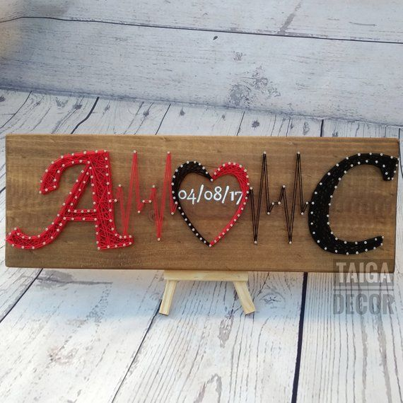 String Art custom couple initials with handwriting established date on wood is great for a wedding or anniversary personalized gift. The wood is 3/4 thick and approximately 15 x 5.5. Each piece is made to order, completely customizable to your liking. Feel free to message me with special