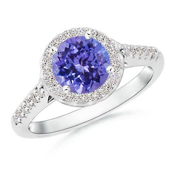 Angara Round Tanzanite and Diamond Halo Engagement Ring in Yellow Gold