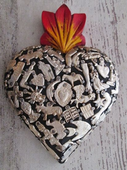 "Milagros Heart, 7.5 x 5.5""- Sacred Heart -Carved Heart - Mexican Folk Art Heart #4 -  Anniversary Gift, Wedding, Engagement Pinned by My Art y Lezama"