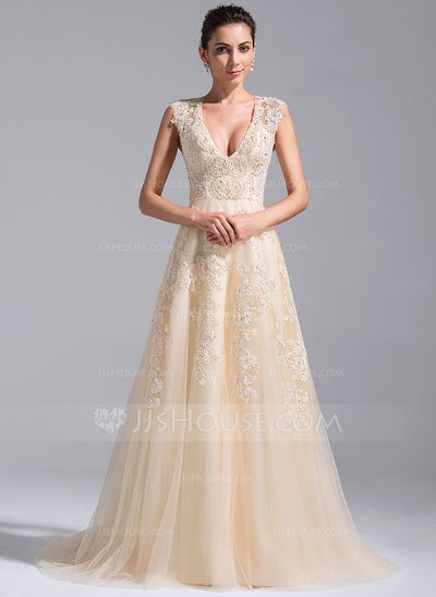 de07c7f3 A-Line/Princess V-neck Court Train Tulle Wedding Dress With Beading  Appliques Lace Sequins (002071758) - JJsHouse