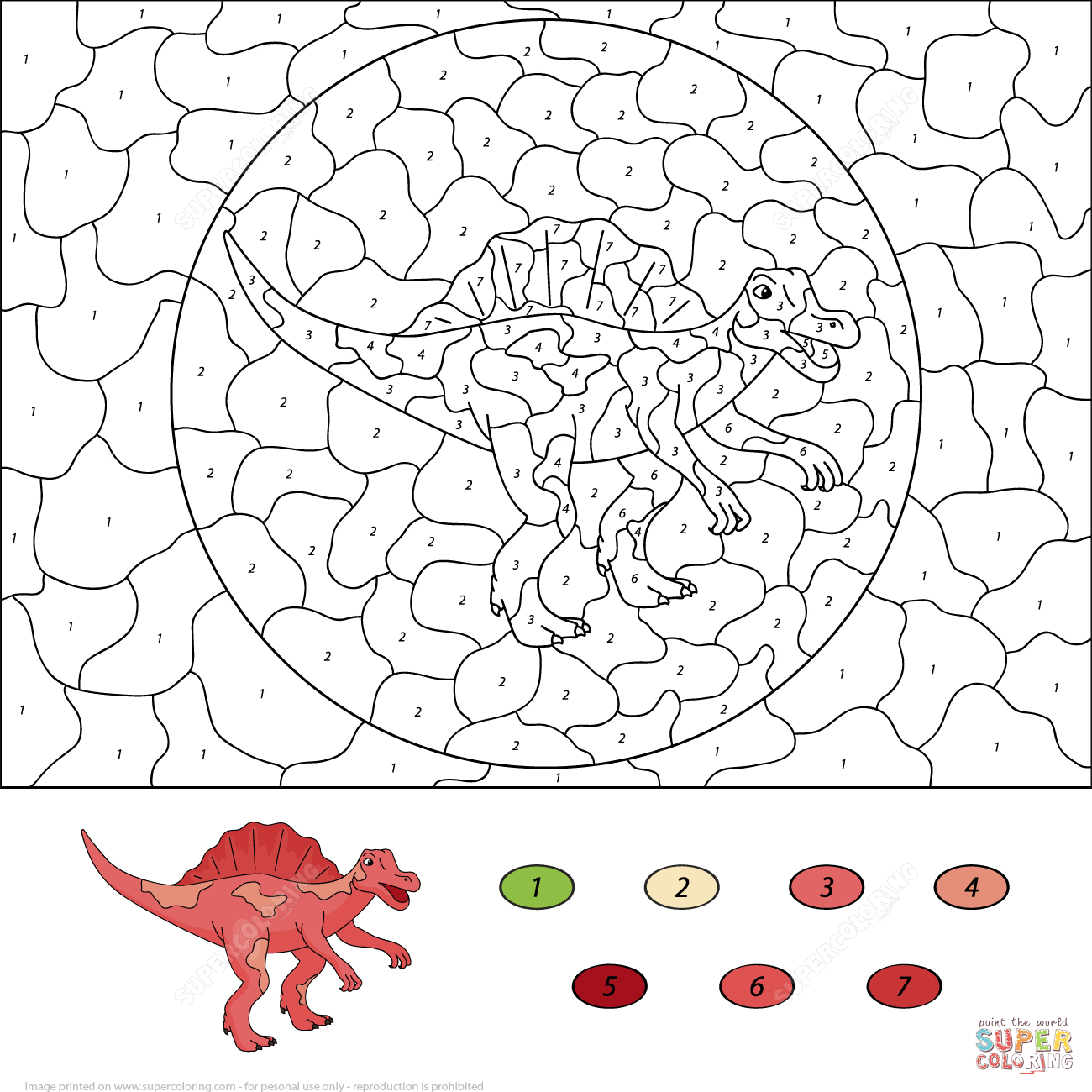 Spinosaurus Color by Number from Color by Number Worksheets ...