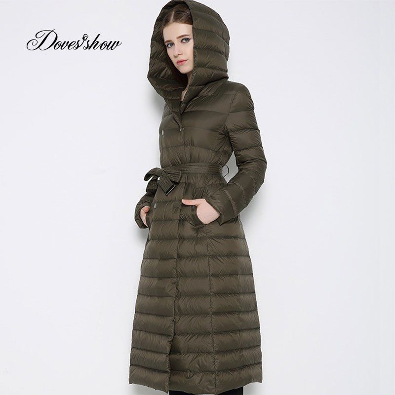 4741a15f87f New Hooded Belted Winter Down Coat Long Thin Warm Slim Women Fashion Down  Coat Mujer Casaco
