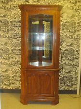 Tell City Chair Company Oak Lighted Corner China Hutch Cabinet ...