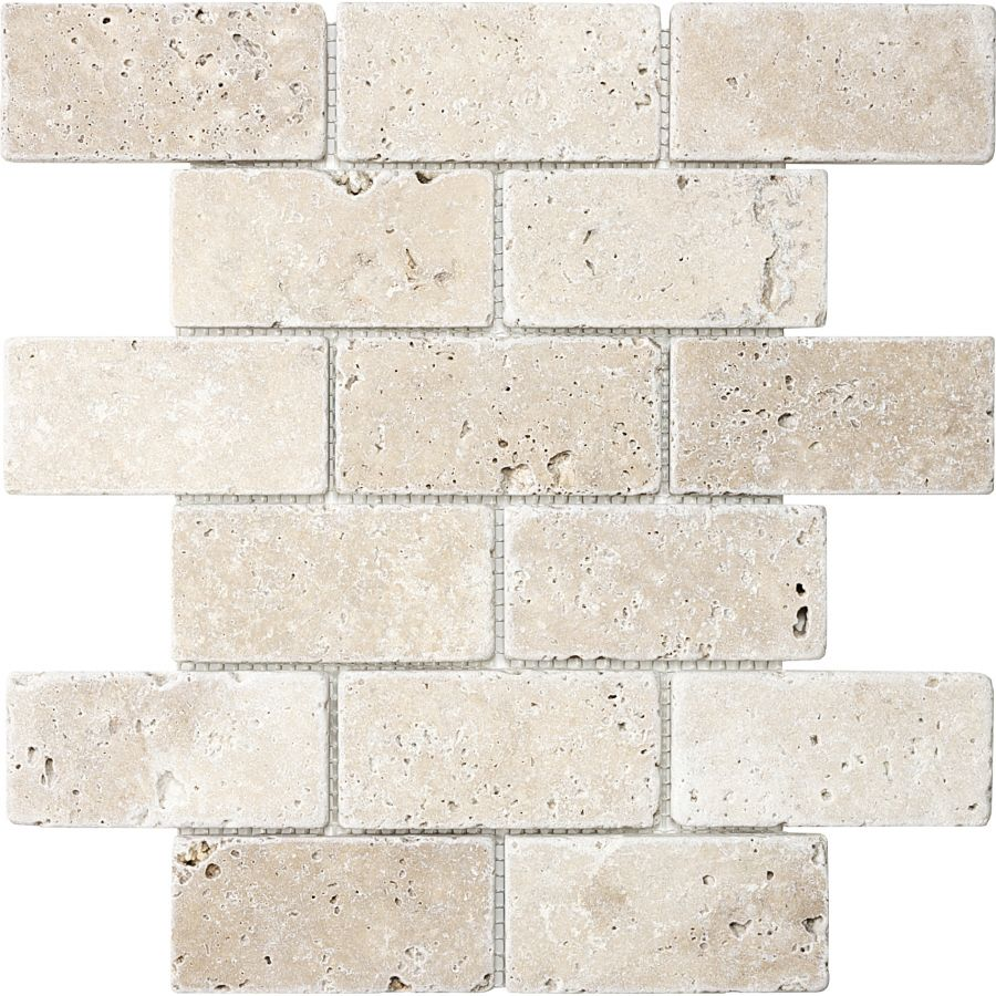 Chiaro Tumbled Natural Stone Mosaic Subway Wall Tile Common 12 In X