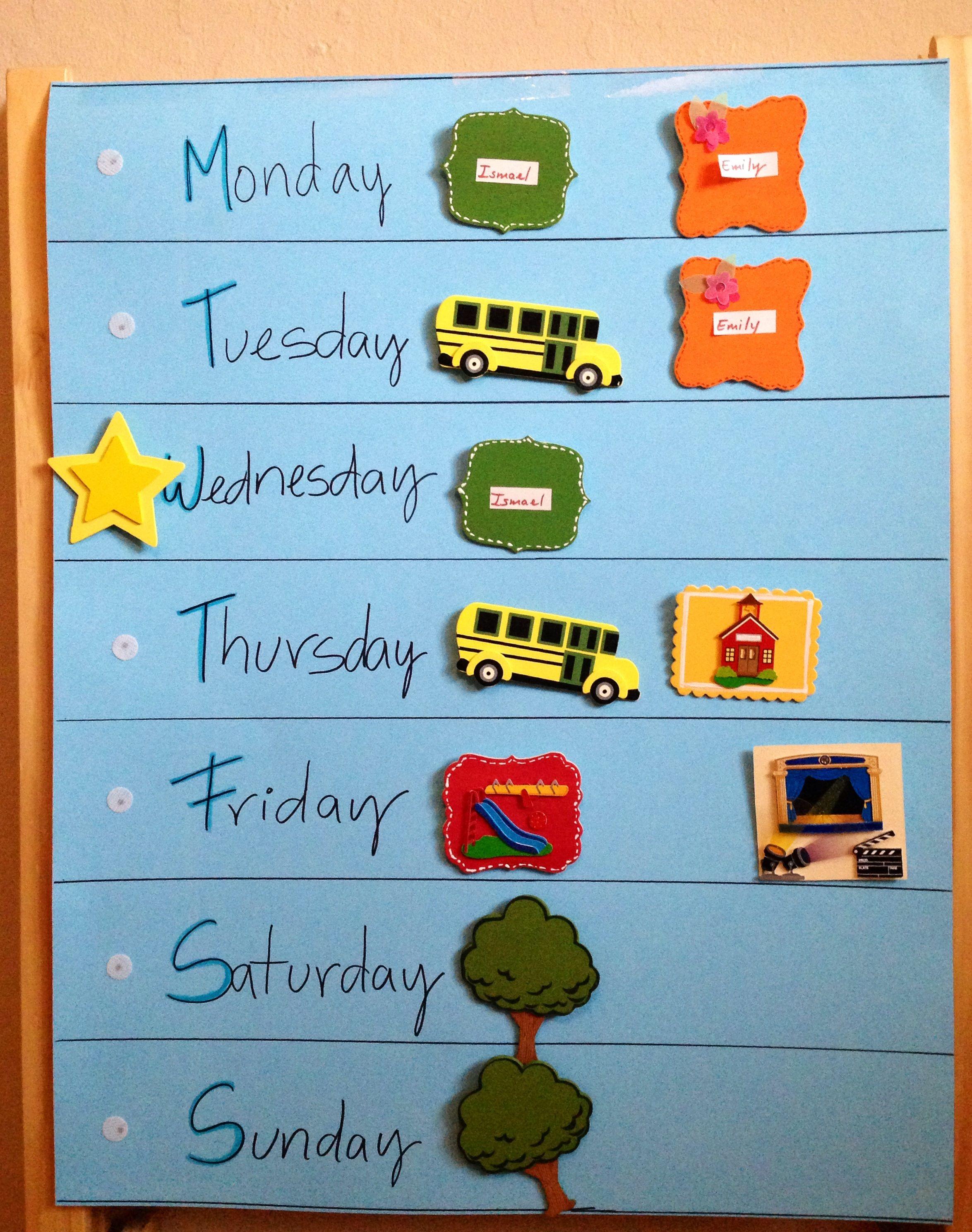 Calendar Ideas Kids : Weekly calendar for kids tommy activities pinterest