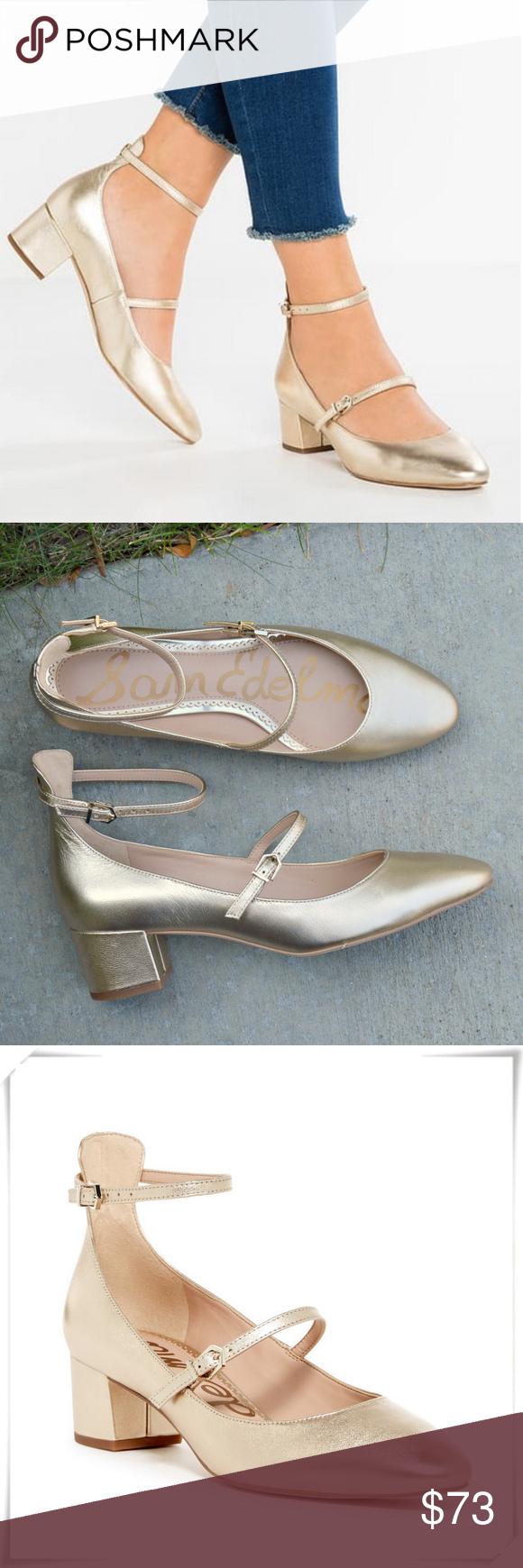 33eedb40a Sam Edelman Lulie ankle strap gold shoes heels Pretty dress shoes. Almond  toe. Metallic