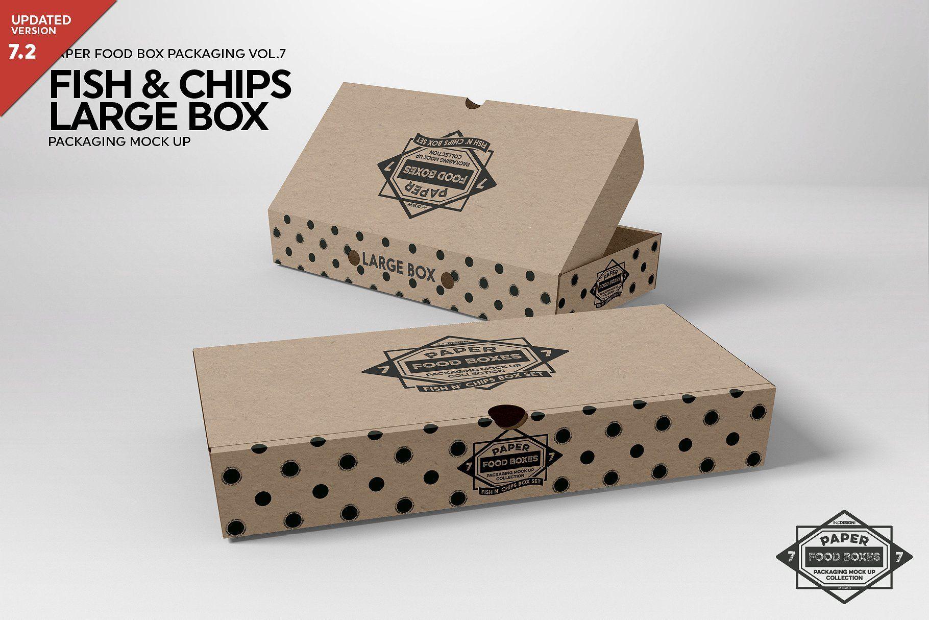 Large Fish and Chips Box Mockup #Mockups#PSD#Resolution#showcasing