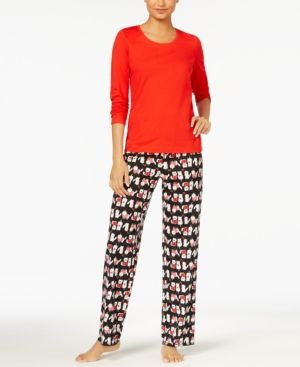 294a46ea82a7 Jenni by Jennifer Moore Knit Top   Printed Pants Pajama Set
