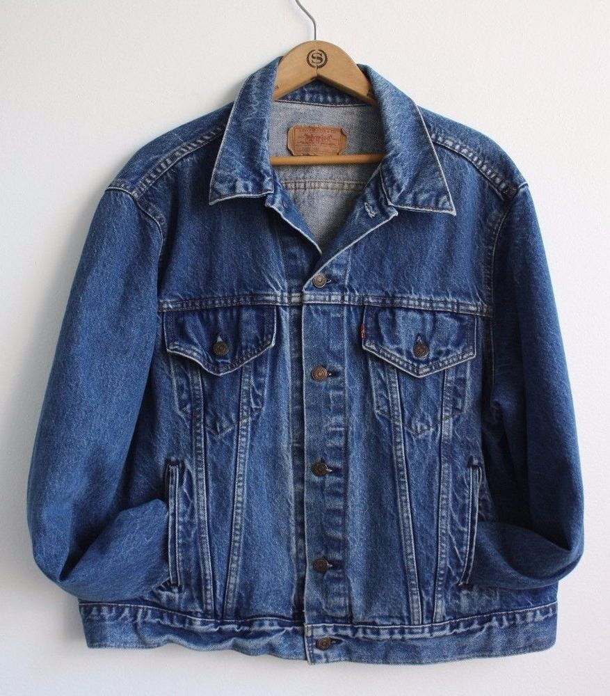 2adeb693 LEVI'S USA Made Vintage 80s Trucker Blue Denim Jean Jacket 70506-0216 Sz 48  R Xl #Levis #JeanJacket