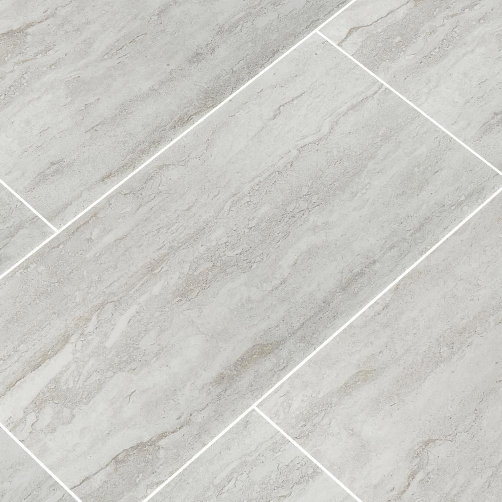 Msi Nyon Gray 12 In X 24 In Polished Porcelain Floor And Wall Tile 16 Sq Ft Case Nhdnyogra1224p The Home Depot Flooring Grey Bathroom Floor Kitchen Flooring
