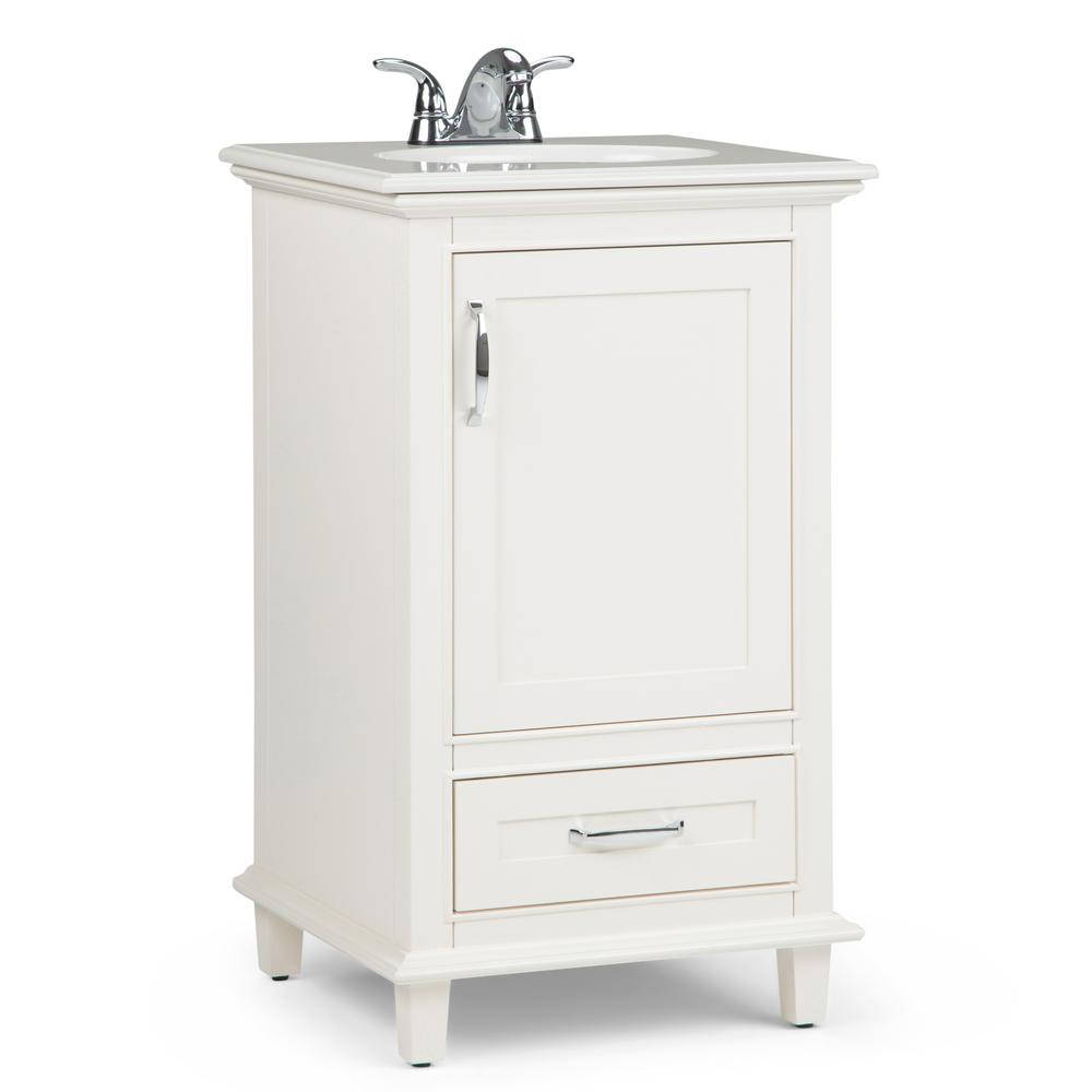 Simpli Home Ariana 20 In W X 19 In D Bath Vanity In Soft White With Quartz Marble Vanity Top In Bombay White With White Basin Axcvarw 20 The Home Depot Marble