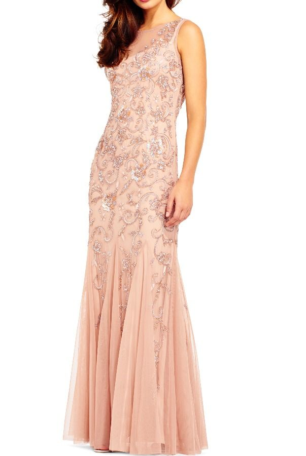 Adrianna Papell Floral Filigree Beaded Godet Gown Rose Gold Dress