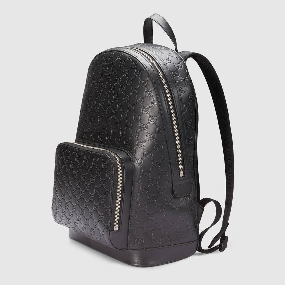 Gucci Signature leather backpack in Black leather Gucci Signature with  black leather trims