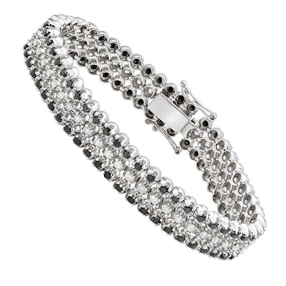 Luxurman White And Black Diamond Tennis Bracelet For Men In 14k Gold 8 5ct Diamond Bracelets Mens Diamond Bracelet Black Diamond Bracelet