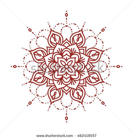Line Mehndi Mandala Intricate Ornate Henna Design Template For Coloring Book Vector Illustration