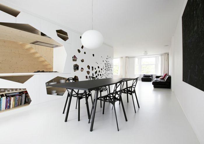 esszimmermbel modern schwarzer tisch ausgefallene sthle tolle wanddeko - Designer Esstische Und Sthle