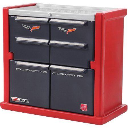 step2 corvette kids storage chest red