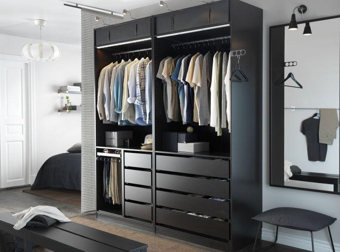 Zwarte Slaapkamer Kast.Open Kleerkast Ikea Pax Zwart Google Zoeken Walk In Closet