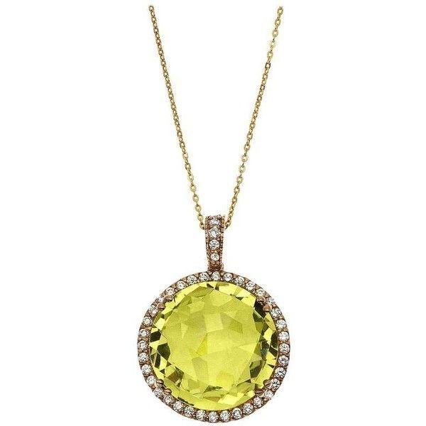 23.00 Carat Lime Quartz Diamond Gold Round Pendant ($2,500) ❤ liked on Polyvore featuring jewelry, pendants, multiple, charm pendant, round pendant, gold chain pendant, gold pendant and gold circle pendant