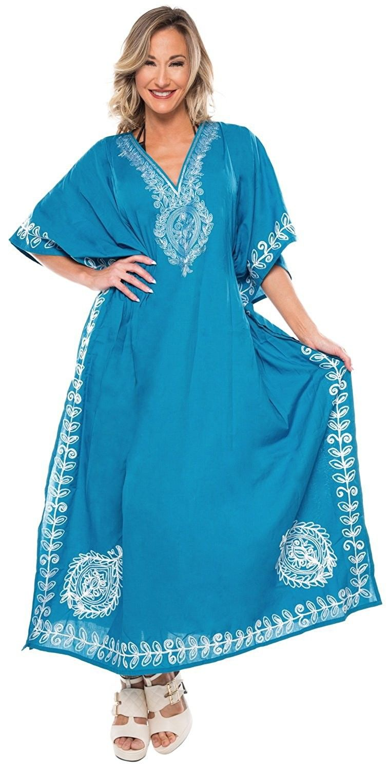 8bb823852923 Women s Long Beach Designer Dress Rayon Swimwear Maxi Kimono Cover up  Kaftan - Turquoise - CT12NV3W74Z