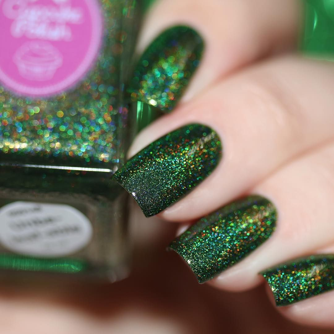 Cupcake polish in Un-be-leafable #dark green Holographic glitter ...