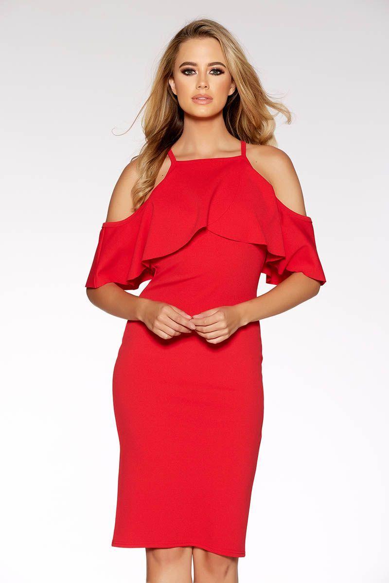 Red crepe cold shoulder midi dress cold shoulder midi dresses and