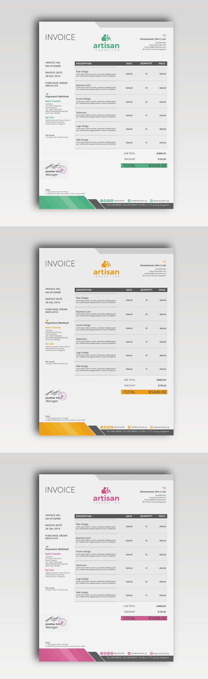 Invoice Template PSD AI EPS XLSX DOCX DOC Proposal - Invoice template illustrator