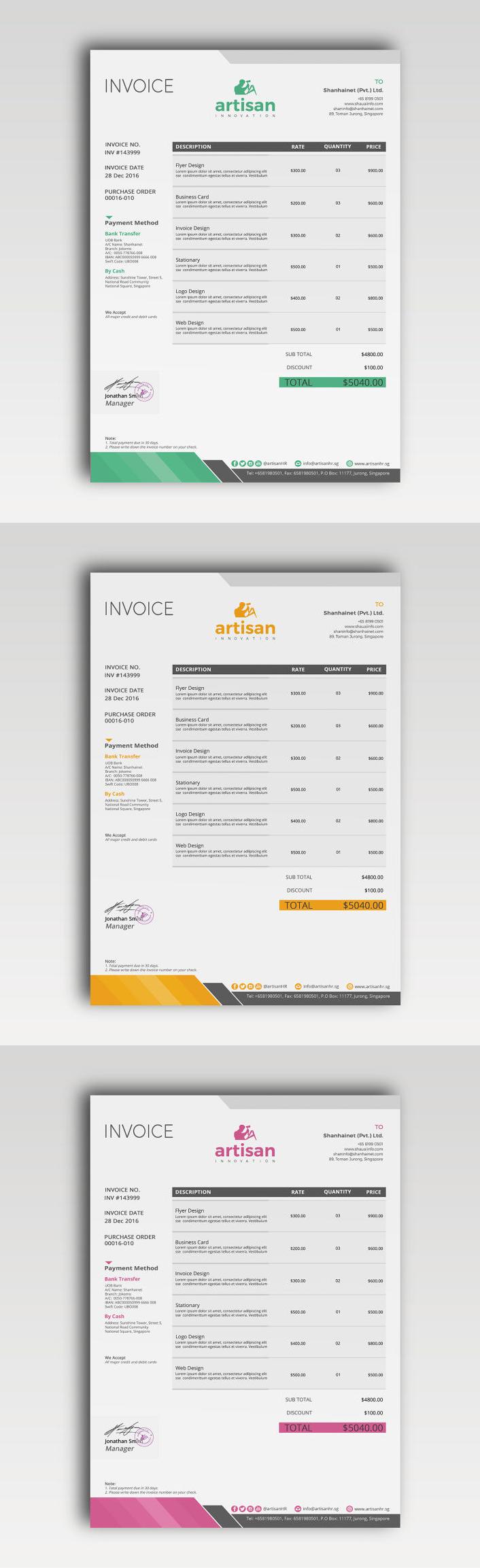 Invoice Template PSD AI EPS XLSX DOCX DOC Proposal - Invoice template psd