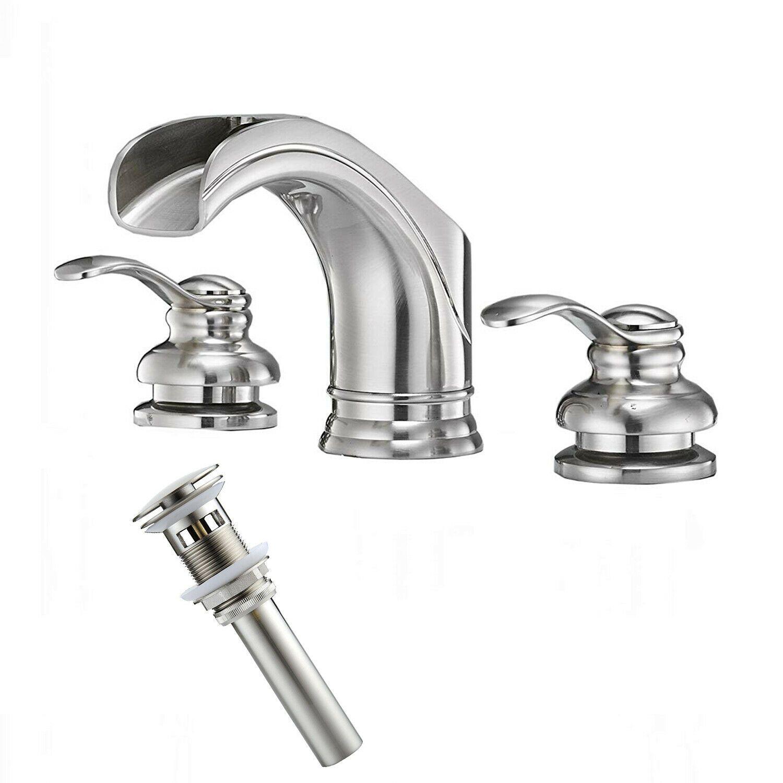 3 Holes Widespread Bathroom Basin Sink Faucet Brushed Nickel Mixer