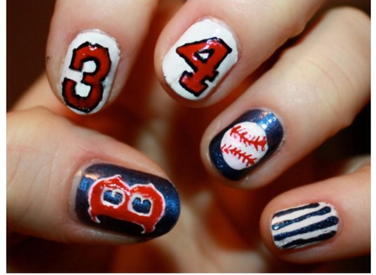 Are there any young ladies who might love to watch the ball game? Have you  ever seen the baseball nail outlines some time recently? For those huge  fans, I' - Boston Red Sox Nails!! Baseball Pinterest