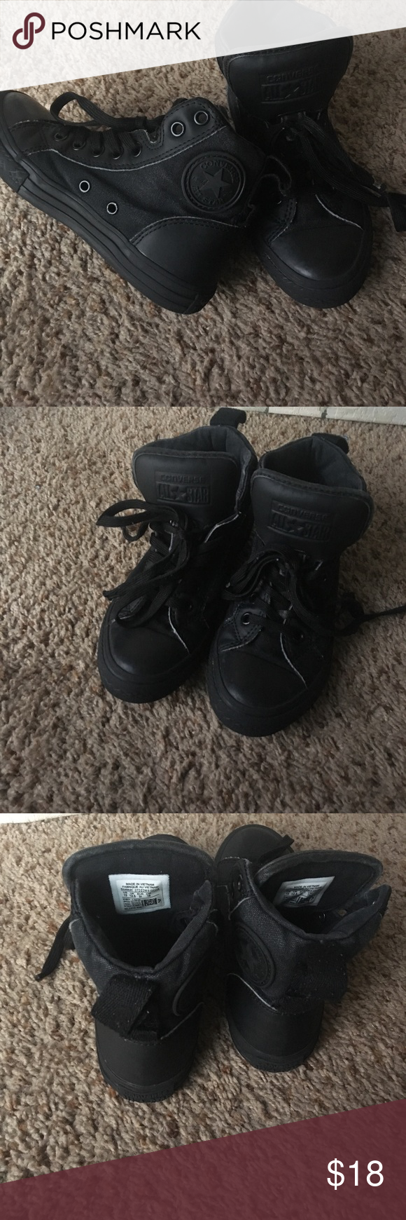 8e422559a2fd Black high top Converse All black converse. High top with thick tongue.  Great condition. Converse Shoes Sneakers