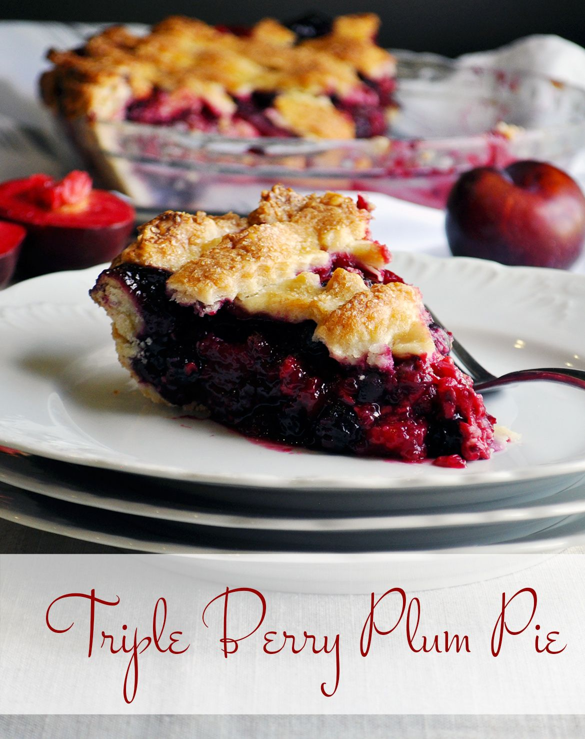 Triple berry plum pie, with blueberries, blackberries, raspberries and sweet purple plums inside a flaky lattice topped pie shell, is the perfect summer fruit dessert.
