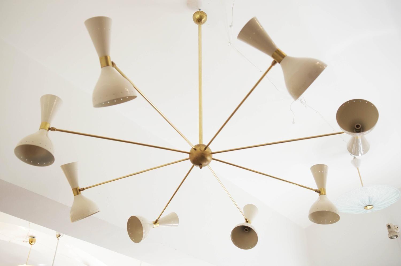 Beautiful large brass chandelier style of stilnovo brass