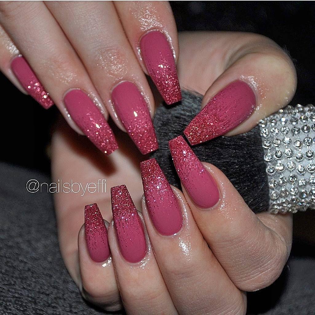 Ig Nailsbyeffi Makeup Dark Pink Nails Pink Acrylic Nails Pink Ombre Nails