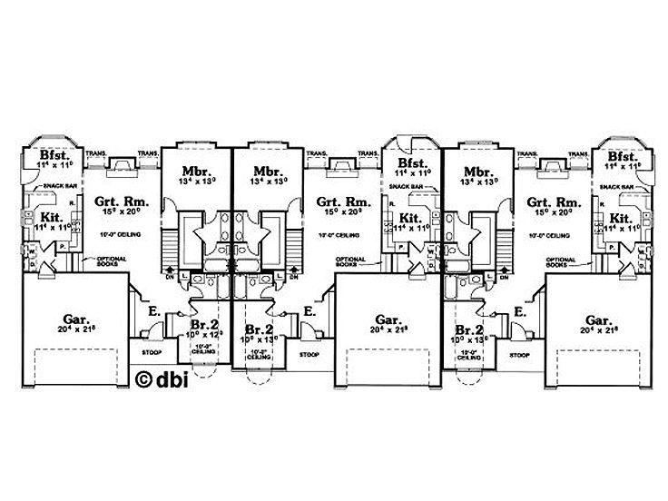 The Houseplan Shop House Plans Duplex Floor Plans House Layout Plans