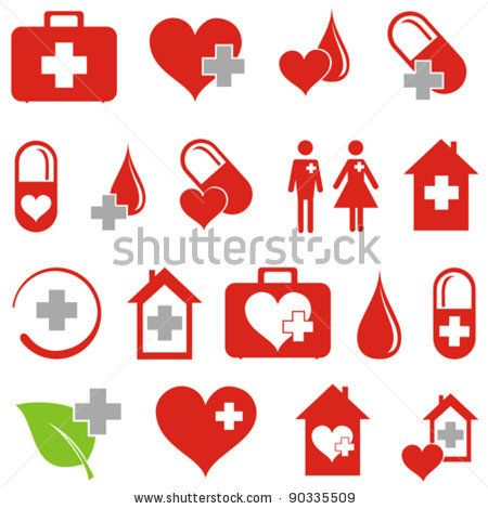 stock vector : set of medical icons isolated on White background ...