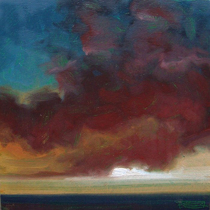"""And Shadow"" by Jerry Moon Fine Art-Oil-Landscape-Painting-Kansas City, Missouri-Midwest-Sky-Clouds-Sunset-Blue-Rust-Dramatic-Storm"