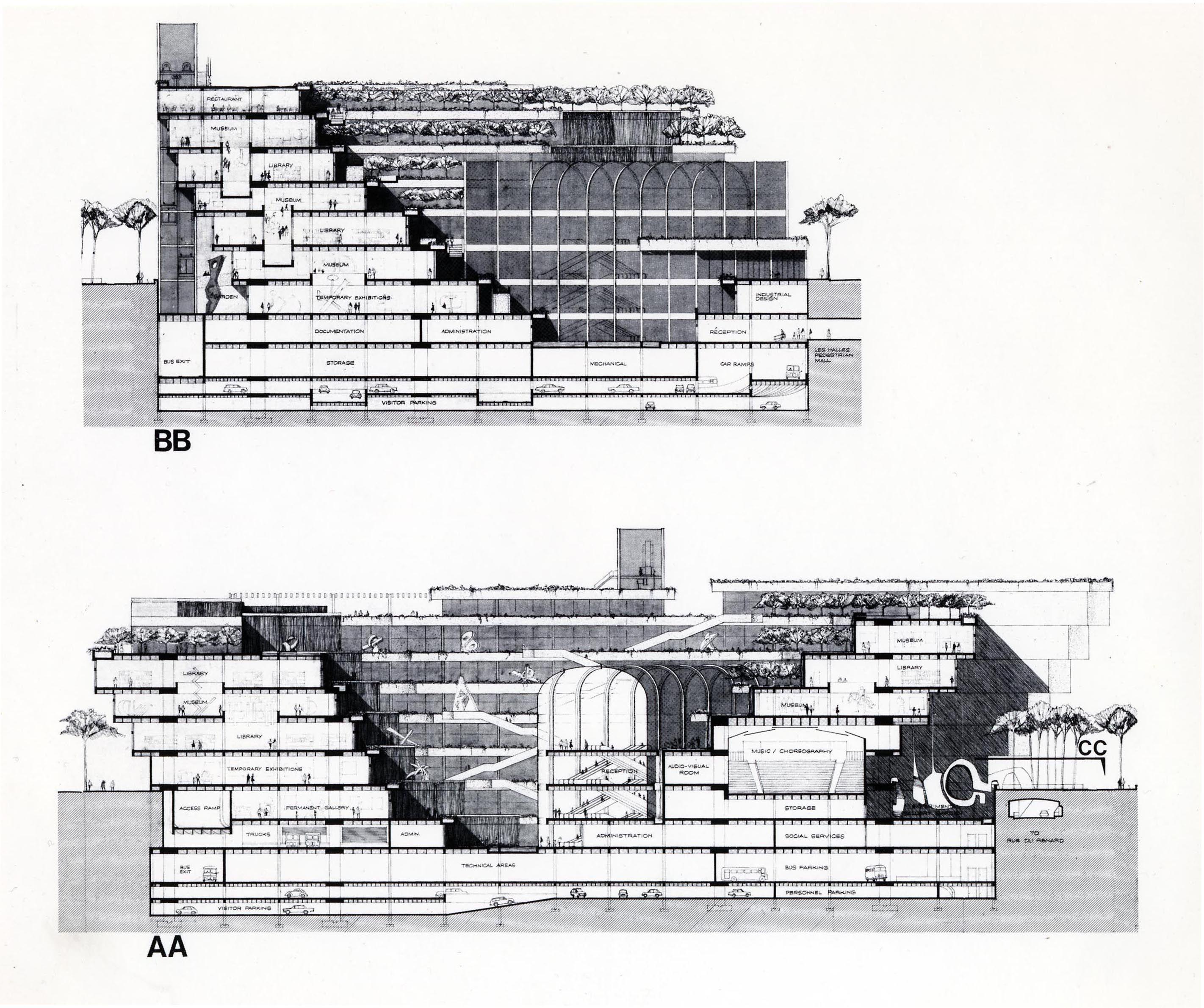 Plans for centre pompidou designed by italian architect - Centre george pompidou architecture ...