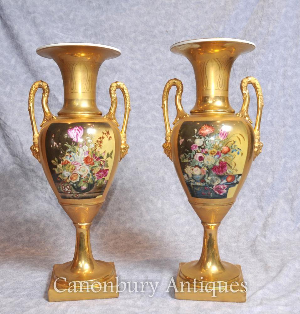 Pair german dresden porcelain floral vases amphora urns pair german dresden porcelain floral vases amphora urns reviewsmspy