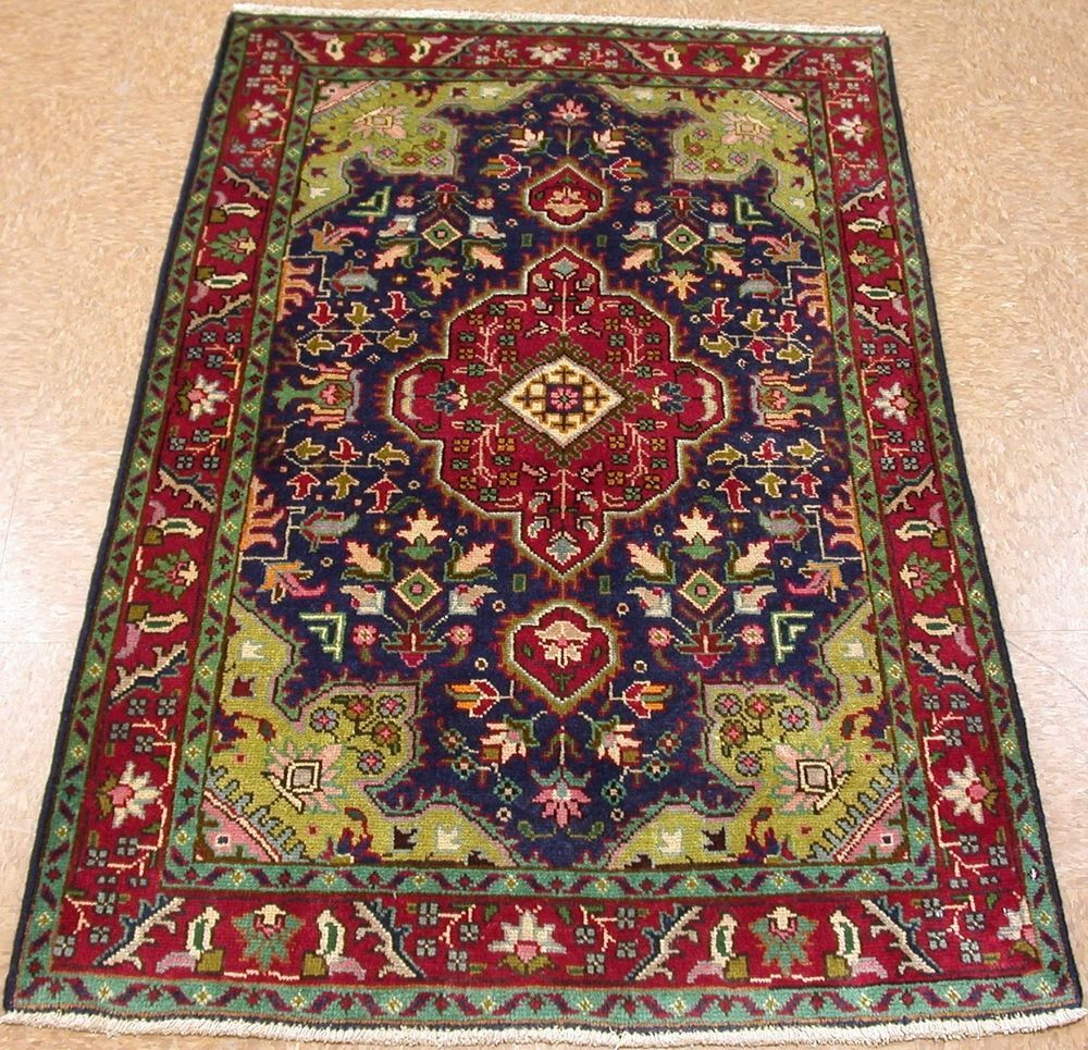3 X 5 Persian Tabriz Hand Knotted Wool Navy Red Green Oriental
