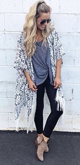 Cute Long Hair Idea With Skinny Jeans Booties And A Long Kimono   Cute  Spring Outfit Idea