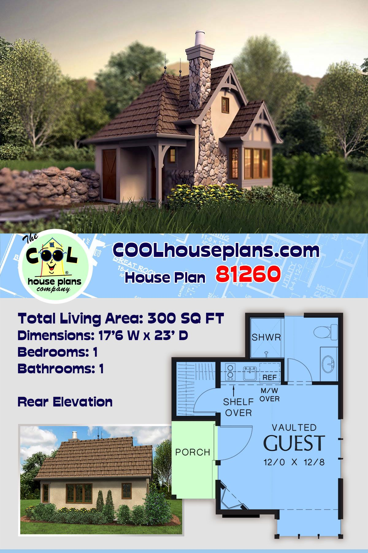 One Story Style House Plan 81260 With 1 Bed 1 Bath Cottage Plan House Plans Cottage House Plans
