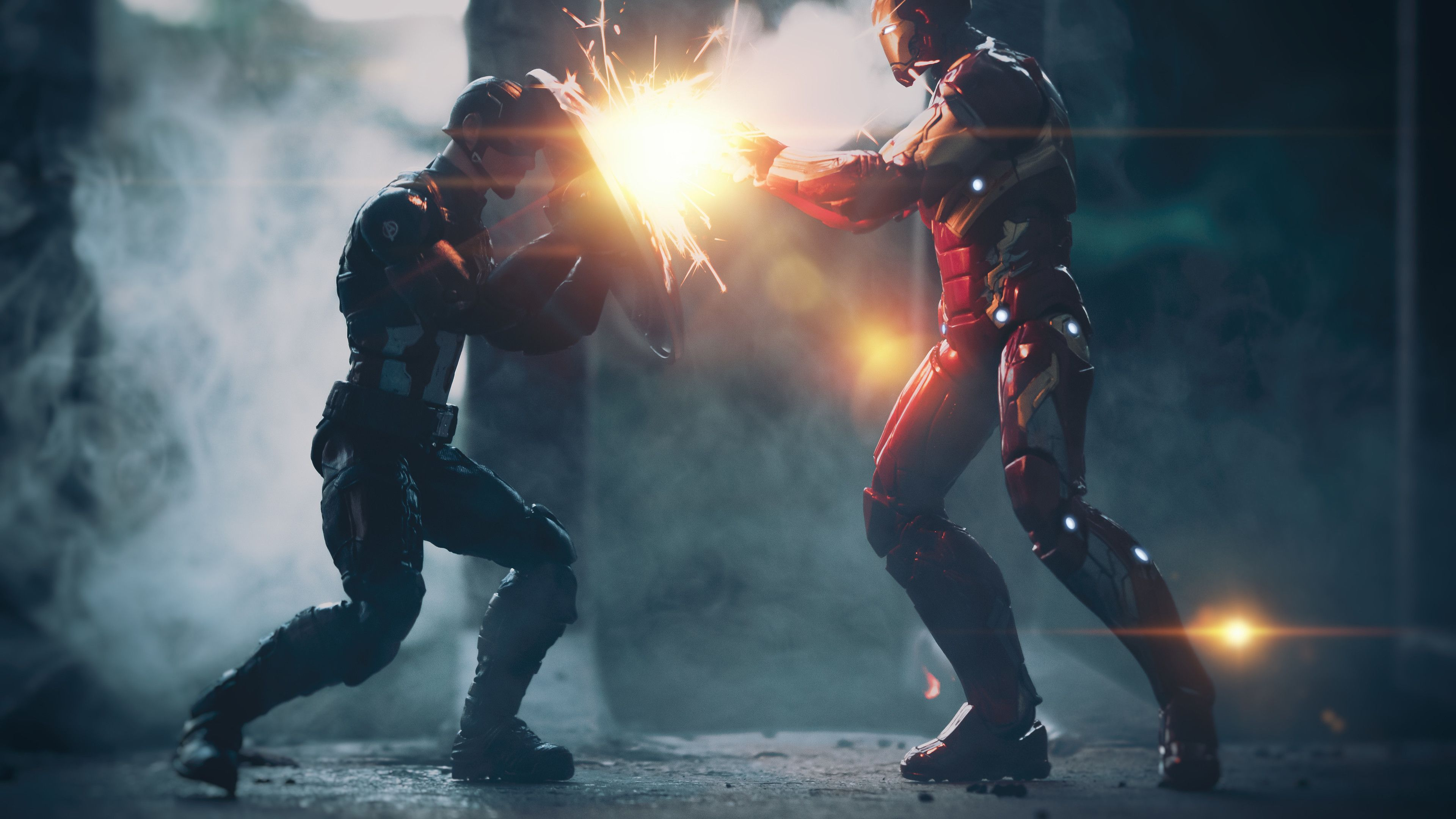 Captain America Vs Iron Man Artwork 5k Iron Man Vs Captain America Captain America Wallpaper Iron Man Wallpaper